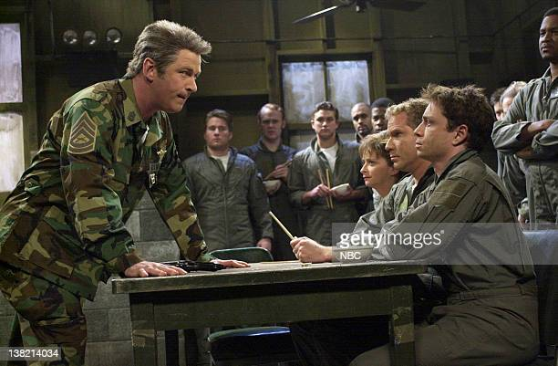 LIVE Episode 16 Aired Pictured Alec Baldwin as Jack Wilcox Rachel Dratch Will Ferrell Chris Kattan as soldiers during Tough Guy skit