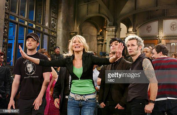 LIVE Episode 16 Aired Pictured Justin Timberlake Cameron Diaz Musical guests Billy Joe Armstrong Mike Dirnt of Green Day onstage