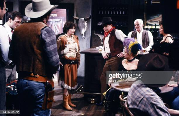 Debra Winger as Calamity Jane Phil Hartman as cowboy Victoria Jackson as Calamity Jane Andy Murphy as bartender during the 'The Adventures Of...