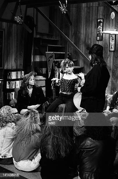 Debra Winger as Lisa Hartman Jan Hooks as Nancy Simmons Mike Myers as Wayne Campbell during the 'Wayne's World' skit on March 24 1990 Photo by...
