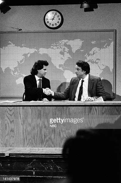 Dennis Miller Kevin Nealon as Mr Subliminal during the 'Weekend Update' skit on March 24 1990 Photo by Raymond Bonar/NBC/NBCU Photo Bank