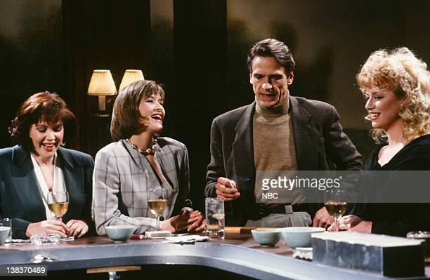 Julia Sweeney as Nancy Jan Hooks as Laura Jeremy Irons as Hegan Victoria Jackson as Patricia during the 'The English Accent' skit on March 23 1991