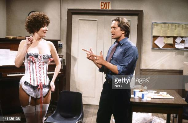 Episode 16 -- Pictured: Mary Gross as applicant and Michael Douglas as Mr. Sullivan during the 'Annie Audition' skit on April 7, 1984 -- Photo by:...