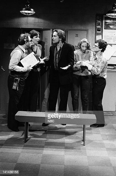 Episode 16 -- Pictured: Mary Gross, Michael Douglas, Robin Duke, and Tim Kazurinsky during the 'Lost Script' skit on April 7, 1984 -- Photo by: Alan...