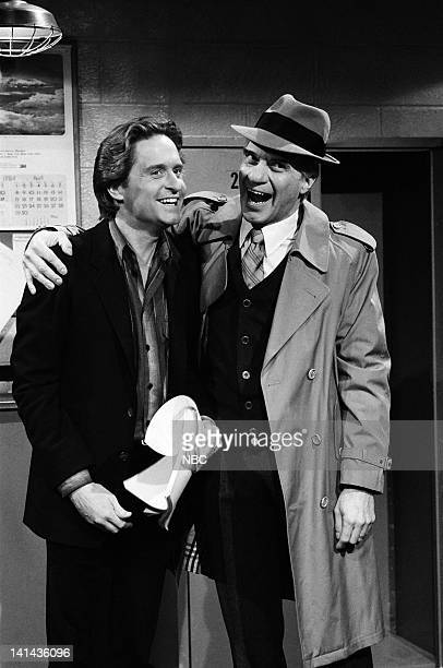 Michael Douglas and Joe Piscopo as Karl Malden during the 'Lost Script' skit on April 7 1984 Photo by Alan Singer/NBC/NBCU Photo Bank