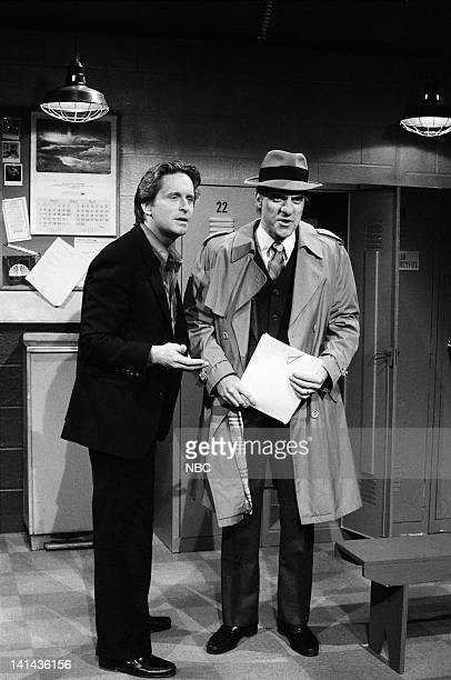 Episode 16 -- Pictured: Michael Douglas and Joe Piscopo as Karl Malden during the 'Lost Script' skit on April 7, 1984 -- Photo by: Alan...