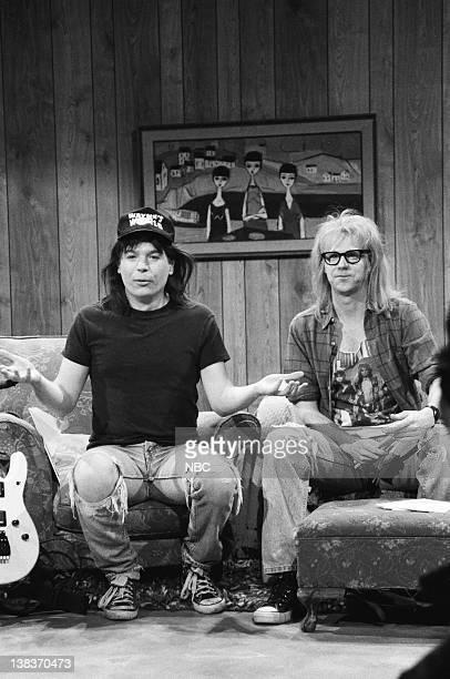 Mike Myers as Wayne Campbell Dana Carvey as Garth Algar during the 'Wayne's World' skit on March 23 1991