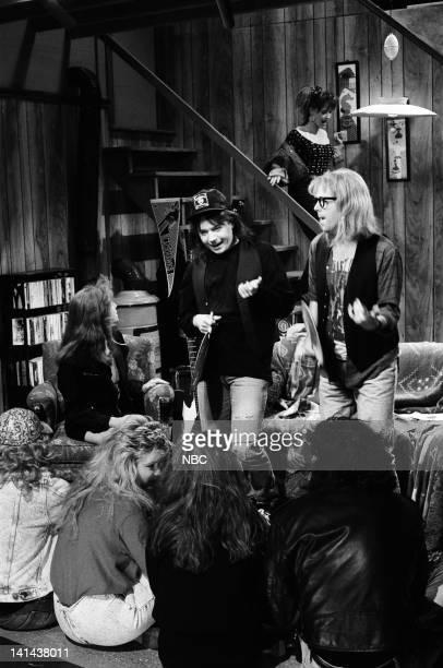 Mike Myers as Wayne Campbell Dana Carvey as Garth Algar during the 'Wayne's World' skit on March 24 1990 Photo by Raymond Bonar/NBC/NBCU Photo Bank