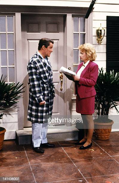 Phil Hartman as Ronald Reagan Victoria Jackson as enumerator during 'The Census' skit on March 24 1990 Photo by Raymond Bonar/NBC/NBCU Photo Bank