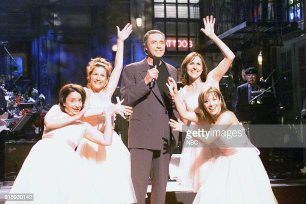 Episode 16 -- Pictured: Rachel Dratch, Ana Gasteyer, Christopher Walken, Molly Shannon, Cheri Oteri during the monologue on April 8, 2000 --