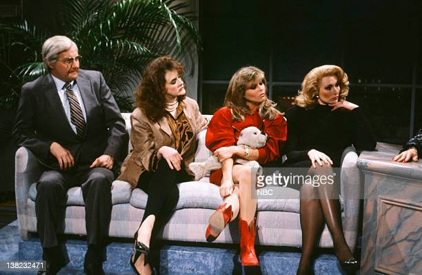 Randy Quaid as Ed McMahon Joan Cusack as Jane Fonda Catherine Oxenberg as Brigitte Bardot Nora Dunn as Catherine Deneuve during the 'The Late Show...