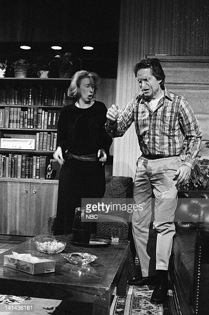Robin Duke as Samantha Brooks and Michael Douglas as Mr Burrows during the 'Soundtrack' skit on April 7 1984 Photo by Alan Singer/NBC/NBCU Photo Bank
