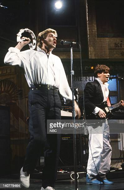 Simon Le Bon Andy Taylor Musical guest Duran Duran performs on March 19 1983 Photo by Alan Singer/NBC/NBCU Photo Bank