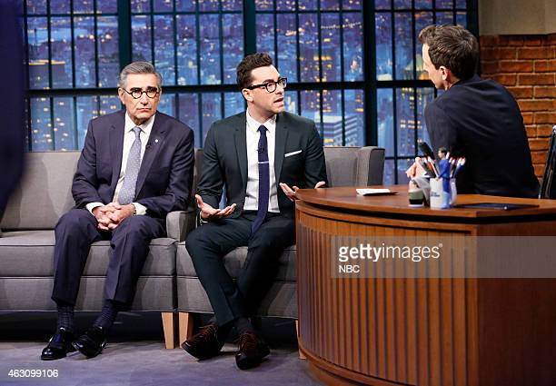 Actors Eugene Levy Daniel Levy during an interview with host Seth Meyers on January 9 2015