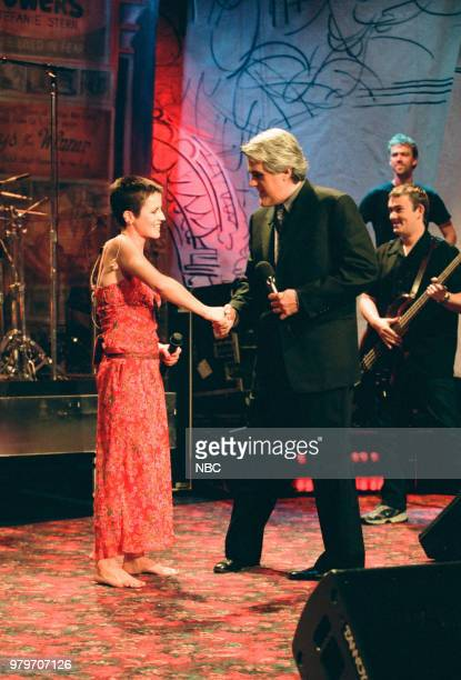 Musical guest Dolores O'Riordan of The Cranberries shaking hands with host Jay Leno on May 21 1999