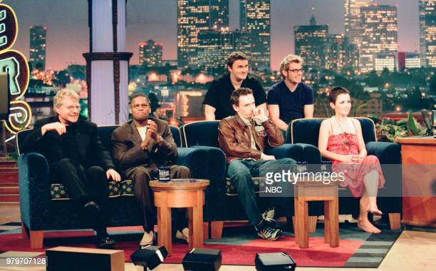 Television host Jerry Springer actor JL Hughley and Niall Quinn Noel Hogan Fergal Lawler and Dolores O'Riordan of The Cranberries during an interview...