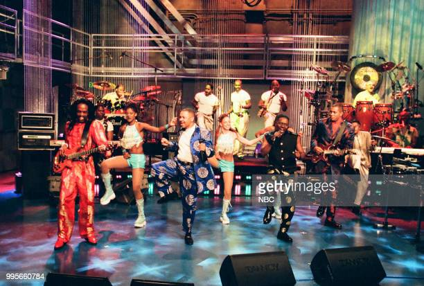 Musical guests Verdine White Ralph Johnson Philip Bailey and Sheldon Reynolds of Earth Wind Fire performing on August 03 1999