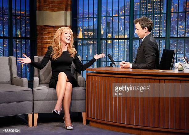 Comedian Kathy Griffin during an interview with host Seth Meyers on February 18 2015