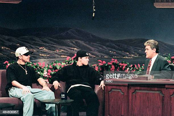 Donnie Walberg and brother Mark Walberg of 'Marky Mark and the Funky Bunch' during an interview with host Jay Leno on February 11 1993