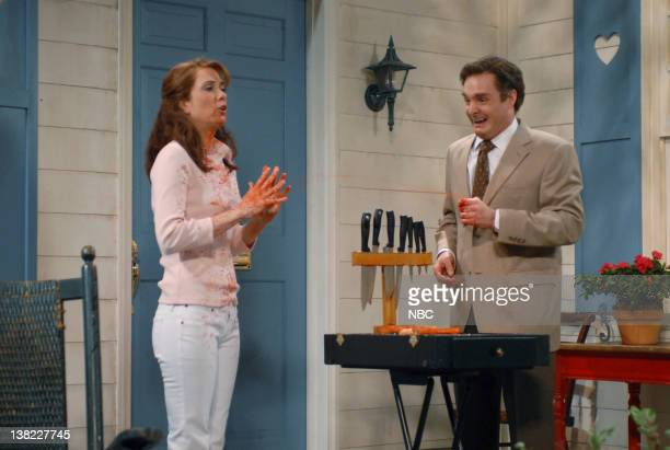 LIVE Episode 17 Aired Pictured Kristen Wiig as Melanie Ginsu Will Forte as Blade P Cutsworth during Knife Salesmen skit on April 14 2007