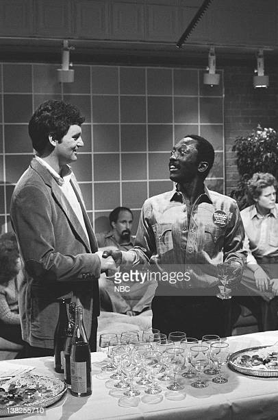 LIVE Episode 17 Aired Pictured Bill Murray as Bob Garrett Morris as LC during 'Invasion of the Brain Snatchers' skit