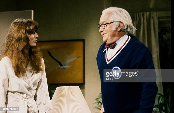 LIVE Episode 17 Aired Pictured Laraine Newman as Sue Strother Martin as Lucius Kilroy during 'Invasion of the Brain Snatchers' skit