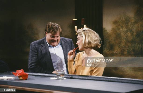 Chris Farley as patron Sharon Stone as patron during 'Hitting on Women'' skit on April 11 1992 Photo by Alan Singer/NBCU Photo Bank