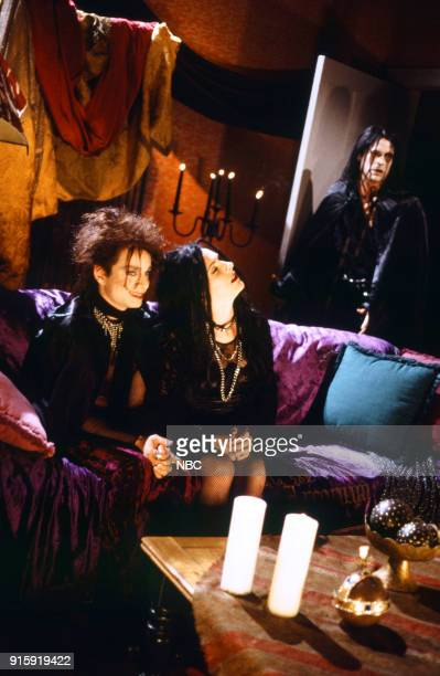 Chris Kattan as Azrael Abyss Molly Shannon as Circe Nightshade Rob Lowe as The Beholder during the 'Goth Talk' skit on April 12 1997