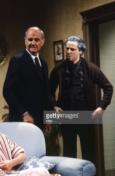 Episode 17 -- Pictured: George McGovern, Gary Kroeger as Walter during the 'Brother in Law' skit on April 14, 1984 -- Photo by: Al Levine/NBC/NBCU...