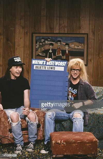 Mike Myers as Wayne Campbell Dana Carvey as Garth Algar during Wayne's World skit on April 11 1992 Photo by Alan Singer/NBCU Photo Bank