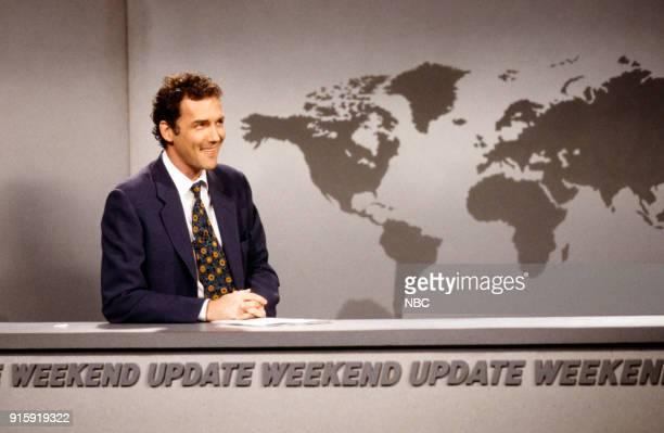 Episode 17 -- Pictured: Norm MacDonald during the 'Weekend Update' skit on April 12, 1997 --
