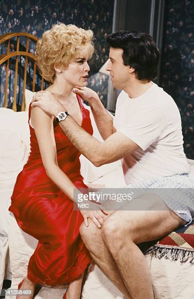 Sharon Stone as Lisa Kevin Nealon as Dan during 'Sex Games'' skit on April 11 1992 Photo by Alan Singer/NBCU Photo Bank