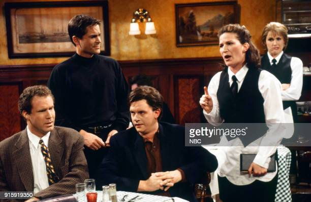 Will Ferrell as patron Rob Lowe as Daniel Jim Breuer as patron Ana Gasteyer as Janet Blaum Molly Shannon as waitress during the 'Rant' skit on April...
