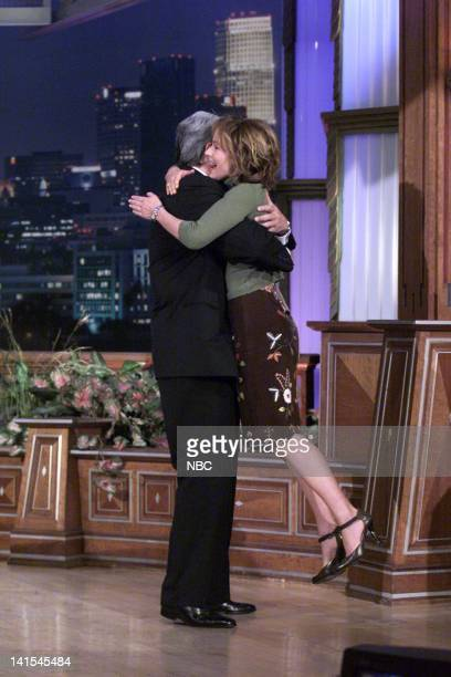 Host Jay Leno greets actress Jennifer Grey on October 18 1999 Photo by NBC/NBCU Photo Bank