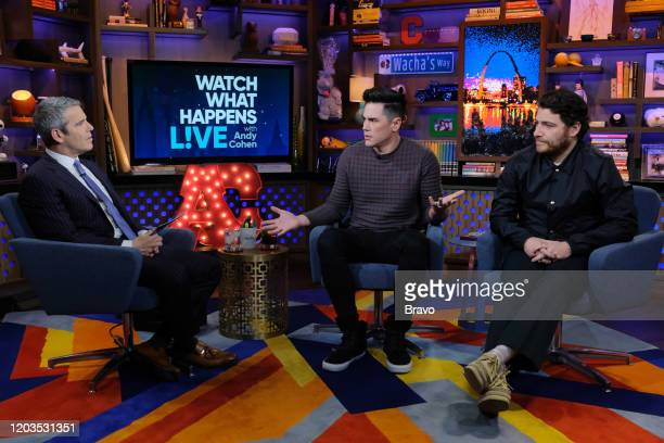 Episode 17036 -- Pictured: Andy Cohen, Tom Sandoval, Adam Pally --