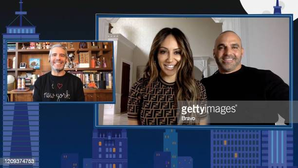 COHEN @ HOME Episode 17053 Pictured Andy Cohen Melissa Gorga Joe Gorga