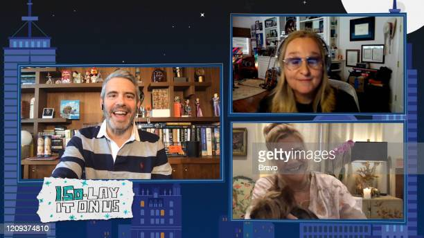 COHEN @ HOME Episode 17055 Pictured Andy Cohen Kristen Johnston Melissa Etheridge
