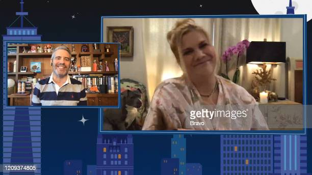 COHEN @ HOME Episode 17055 Pictured Andy Cohen Kristen Johnston