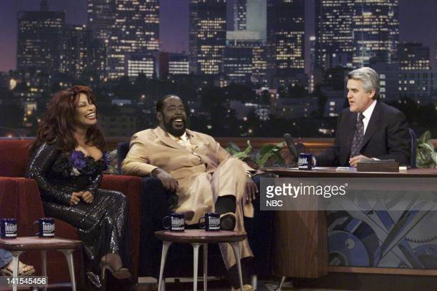 Musical guest Chaka Khan and Barry White during an interview with host Jay Leno on November 1 1999 Photo by NBC/NBCU Photo Bank