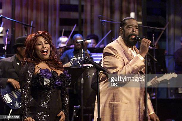 Musical guest Chaka Khan and Barry White perform on November 1 1999 Photo by NBC/NBCU Photo Bank