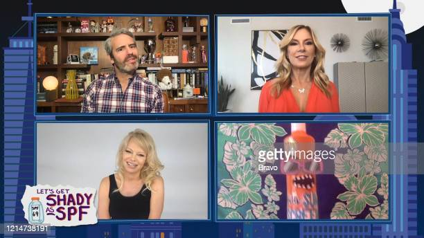 COHEN @ HOME Episode 17092 Pictured in this screen grab Andy Cohen Pamela Anderson Ramona Singer