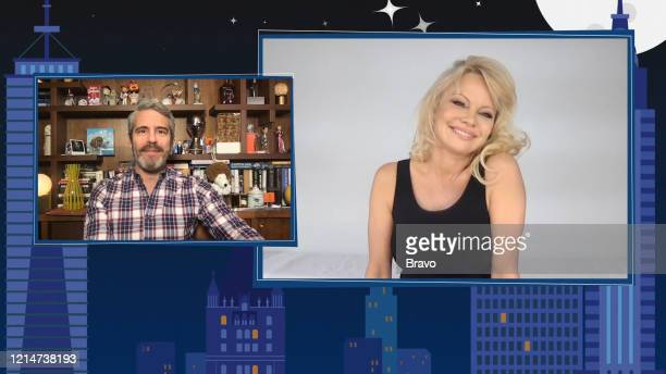 COHEN @ HOME Episode 17092 Pictured in this screen grab Andy Cohen Pamela Anderson