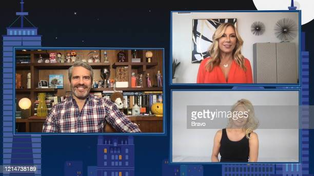COHEN @ HOME Episode 17092 Pictured in this screen grab Andy Cohen Ramona Singer Pamela Anderson