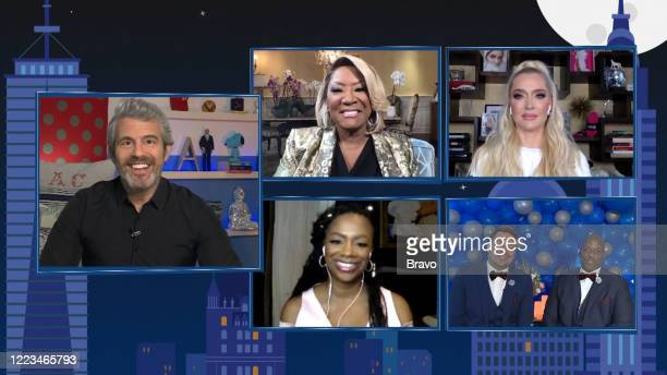 COHEN @ HOME Episode 17109 Pictured in this screen grab Andy Cohen Kandi Burruss Patti LaBelle Justin Erika Jayne Robert