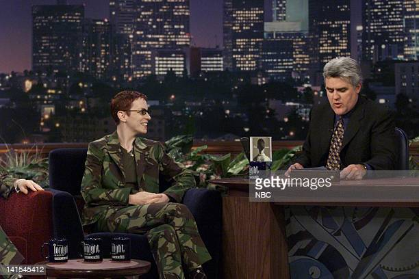 Musical guest Annie Lennox of Eurythmics during an interview with host Jay Leno on November 5 1999 Photo by NBC/NBCU Photo Bank