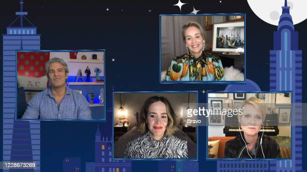 Episode 17149 -- Pictured in this screen grab: Andy Cohen, Sarah Paulson, Sharon Stone, Cynthia Nixon --