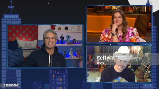 Episode 17150 -- Pictured in this screen grab: Andy Cohen, Drew Barrymore, Brad Paisley --