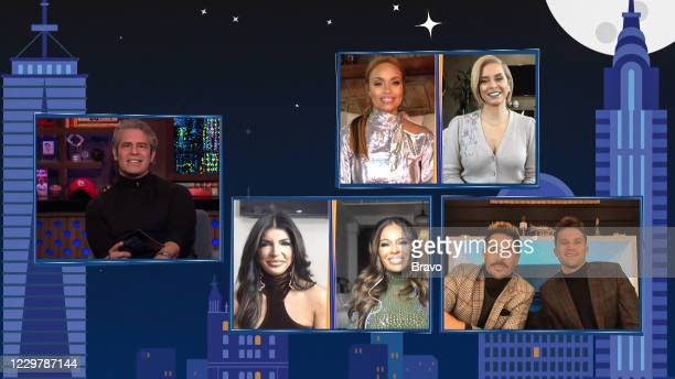 Episode 17190 -- Pictured in this screen grab: Andy Cohen, Teresa Giudice, Gizelle Bryant, Dolores Catania, Robyn Dixon, Tom Sandoval, Tom Schwartz --
