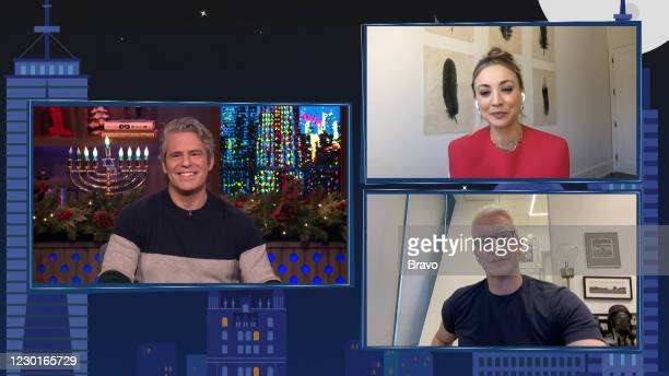 Episode 17204 -- Pictured in this screen grab: Andy Cohen, Anderson Cooper, Kaley Cuoco --