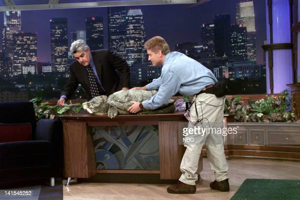 Herpetologist Brady Barr with a large turtle during an interview with host Jay Leno on November 19 1999 Photo by NBC/NBCU Photo Bank